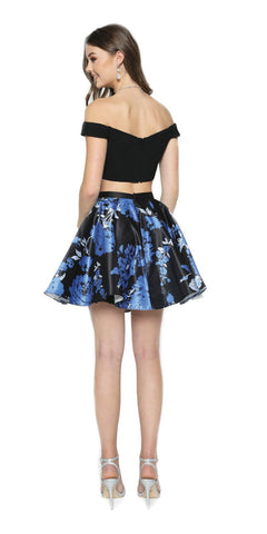 Two-Piece Short Party Dress Print Skirt Off-Shoulder Royal Blue
