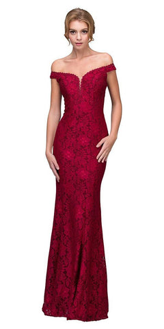 Burgundy Mermaid Style Long Formal Dress Off Shoulder