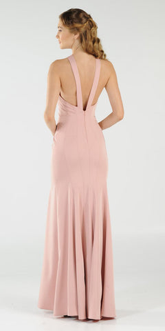 Mauve Keyhole Bodice Fit and Flare Long Formal Dress