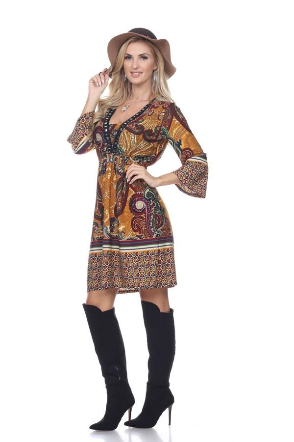Dolly Dress Cowgirl Country in Mustard Brown Short Knee Length
