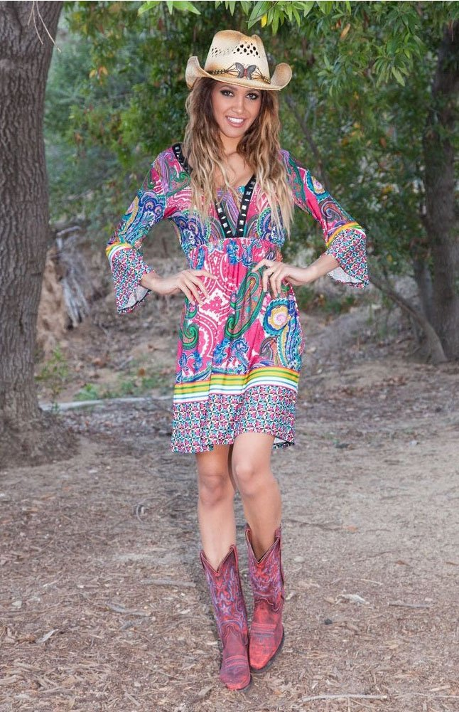 Dolly Dress Cowgirl Country in Fuchsia Green Short Knee Length