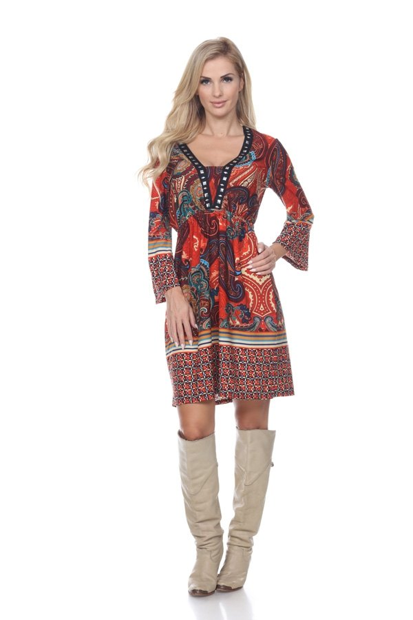 Dolly Dress Cowgirl Country in Brown Orange Short Knee Length