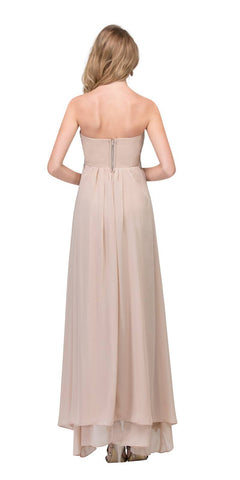 High Low Taupe Semi Formal Dress Empire Rhinestone Waist Back View