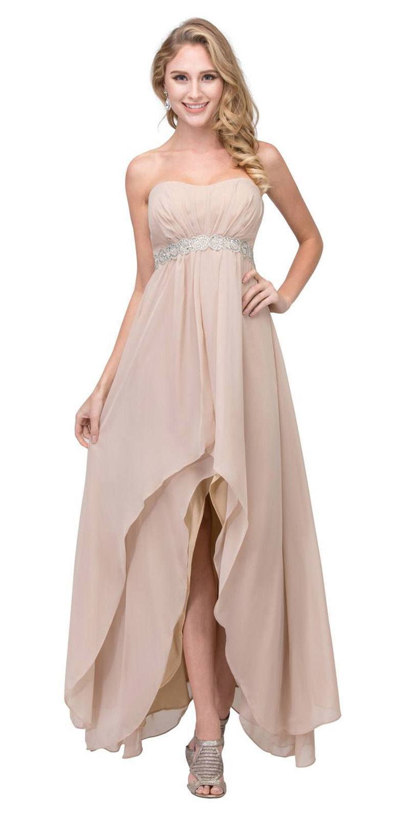 High Low Taupe Semi Formal Dress Empire