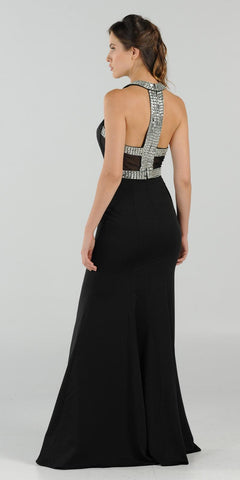 High Neckline Embellished Evening Gown Keyhole Bodice Black