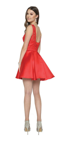 Red Homecoming Short Dress Lace-Up Back Satin Skirt
