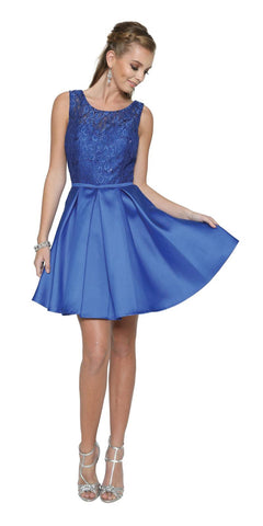 Royal Blue Homecoming Short Dress Lace-Up Back Satin Skirt