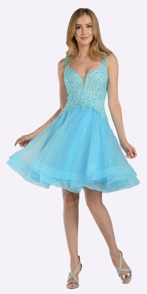 Embroidered Top Knee Length Homecoming Dress Aqua
