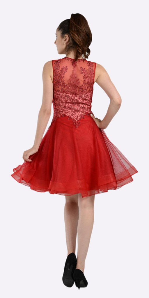 Embroidered Top Knee Length Homecoming Dress Burgundy