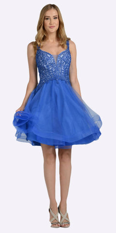 Embroidered Top Knee Length Homecoming Dress Royal Blue