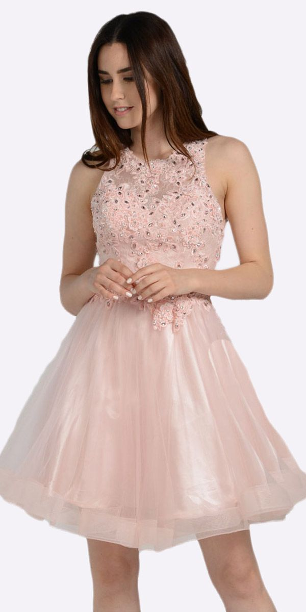 Blush Lace Applique Bodice Short Prom Dress Sleeveless Cut Out Back ...