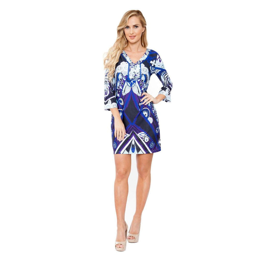 Viola Dress Fun Prints Blue V Neck Short 3/4 Sleeve