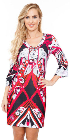 Viola Dress Fun Prints Red V Neck Short 3/4 Sleeve
