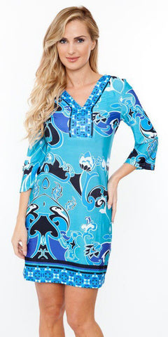 Short Miranda Print Sun Dress Teal Kimono Sleeves V Neck