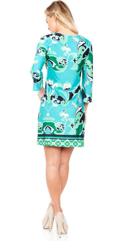 Short Miranda Print Sun Dress Green Kimono Sleeves V Neck