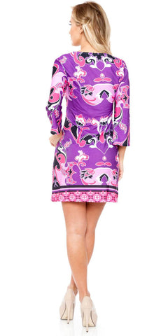 Short Miranda Print Sun Dress Violet Kimono Sleeves V Neck