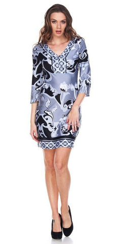 Short Miranda Print Sun Dress Gray Kimono Sleeves V Neck