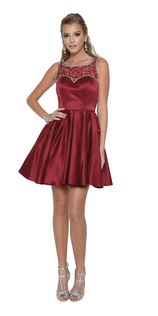 Sleeveless Short Prom Dress Beaded Illusion Neckline Burgundy