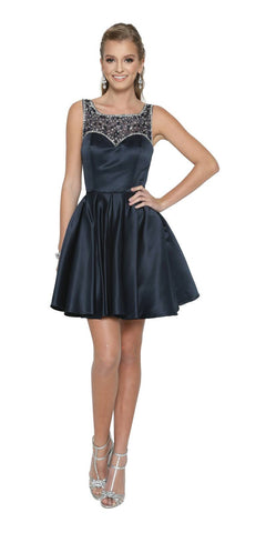 Sleeveless Short Prom Dress Beaded Illusion Neckline Navy Blue