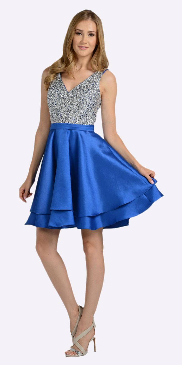 V Neck Beaded Bodice Short Prom Dress With Pockets Royal Blue