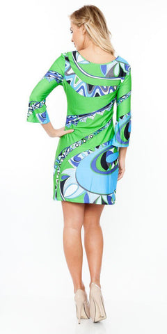 Summer Dress Short Beautiful Green Multi-color Print Dress