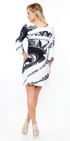 Summer Dress Short Beautiful Black/White Multi-color Print Dress