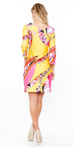 Summer Dress Short Beautiful Yellow Multi-color Print Dress