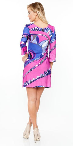 Summer Dress Short Beautiful Purple Multi-color Print Dress