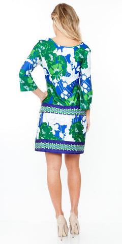 Lydia Dress Blue Short Shift Sun Dress 3/4 Kimono Sleeves