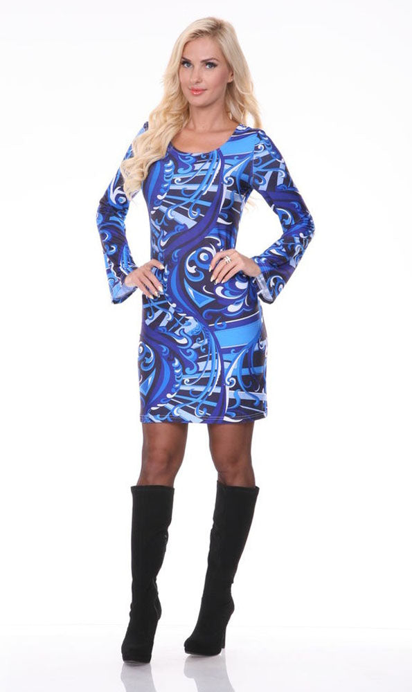 Juliana Long Bell Sleeve Dress Blue Print Scoop Neck