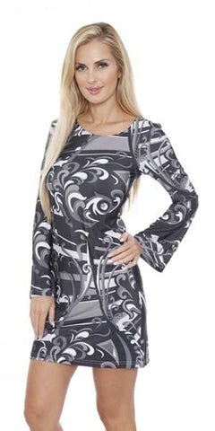 Juliana Long Bell Sleeve Dress Black Print Scoop Neck