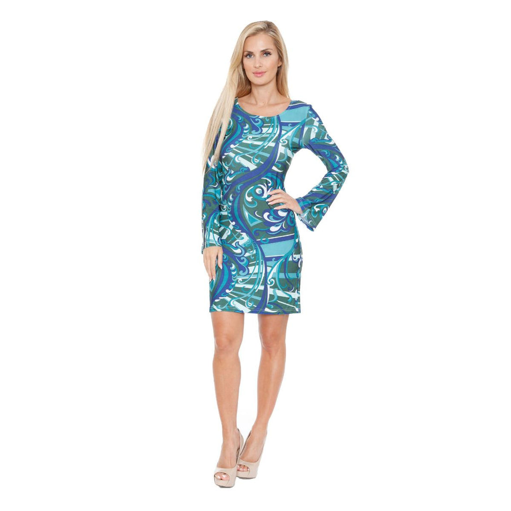 Juliana Long Bell Sleeve Dress Green Print Scoop Neck