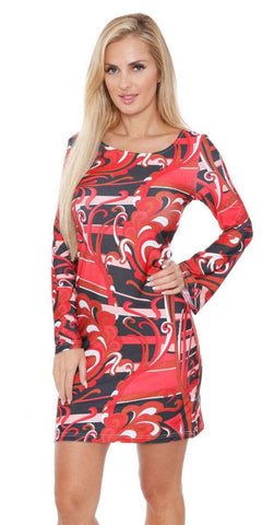Juliana Long Bell Sleeve Dress Red Print Scoop Neck