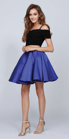 Short Cold-Shoulder Homecoming Two-Piece Dress Royal Blue
