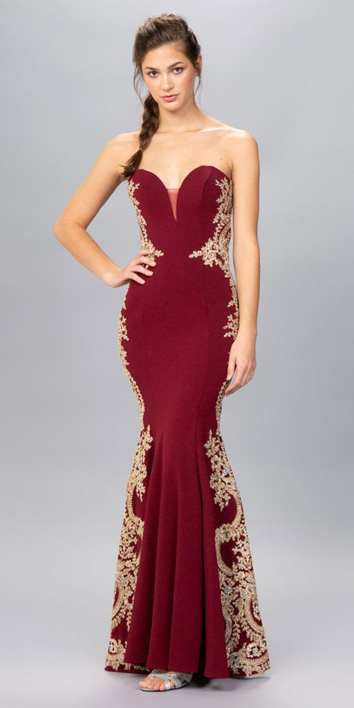 Eureka Fashion 8090 Burgundy Appliqued Strapless Long Prom Dress