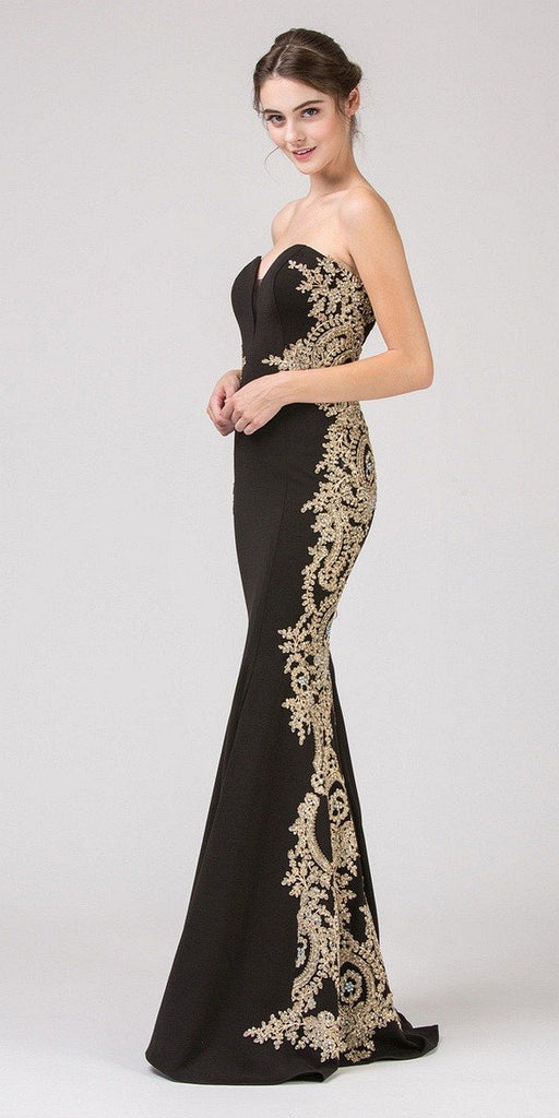Eureka Fashion 8090 Black Appliqued Strapless Long Prom Dress
