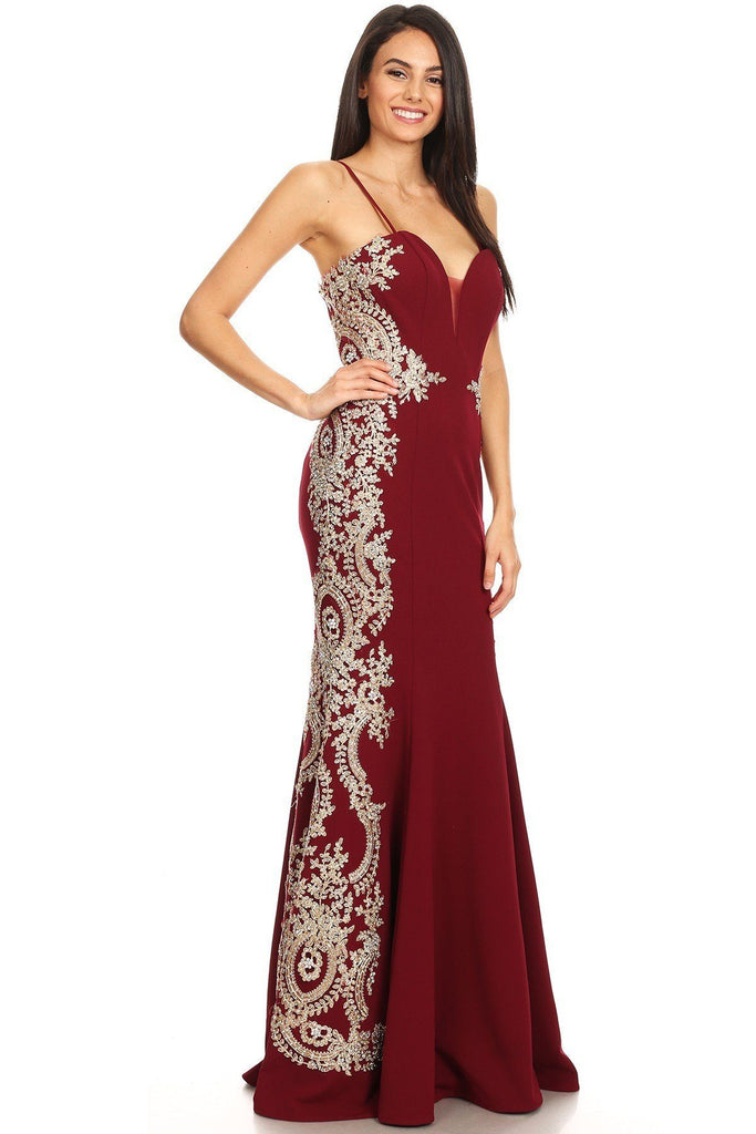Eureka Fashion 8090 Burgundy Mermaid Appliqued Strapless Long Prom Dress