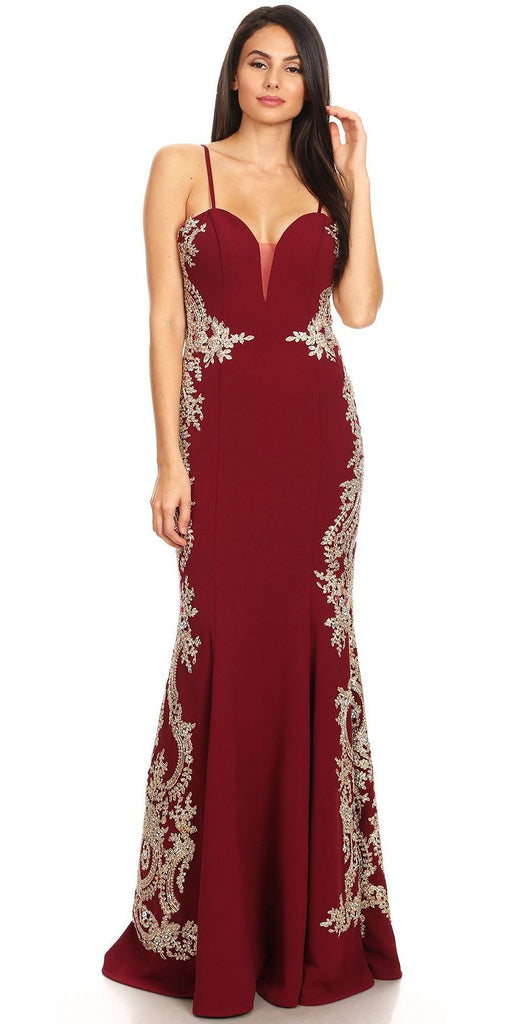Eureka Fashion 8090 Burgundy Appliqued Strapless Long Prom Dress Back View