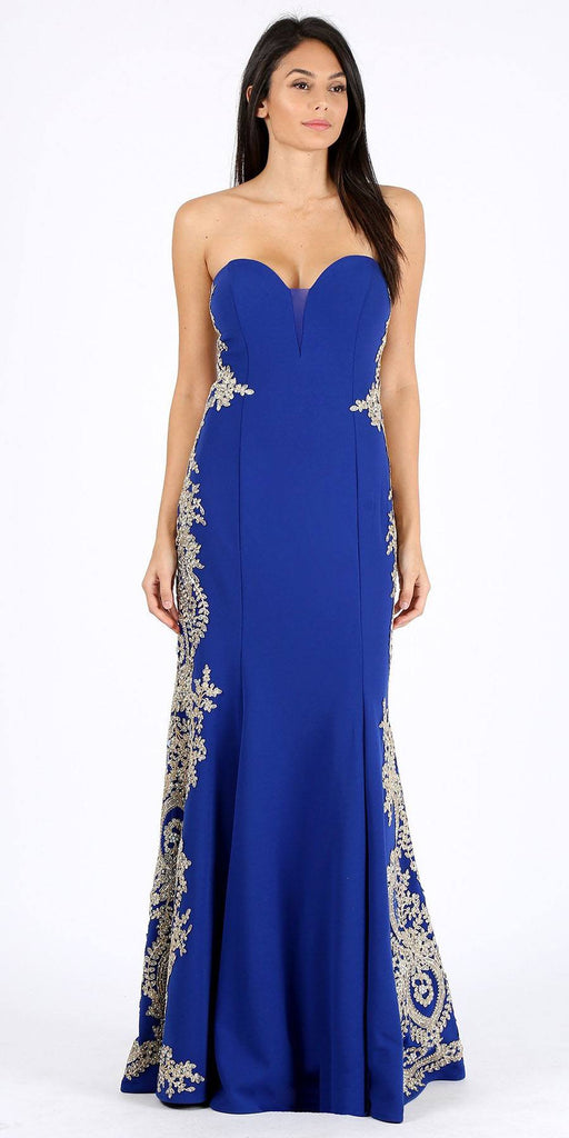 Eureka Fashion 8090 Royal Blue Appliqued Strapless Long Prom Dress