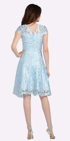 A-line Short Sleeves Appliqued Knee Length Cocktail Dress Blue