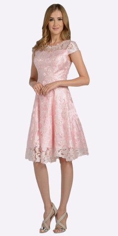 A-line Short Sleeves Appliqued Knee Length Cocktail Dress Blush