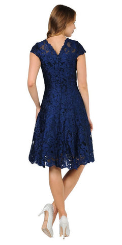 A-line Short Sleeves Appliqued Knee Length Cocktail Dress Navy Blue Back View