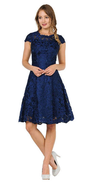 A-line Short Sleeves Appliqued Knee Length Cocktail Dress Navy Blue