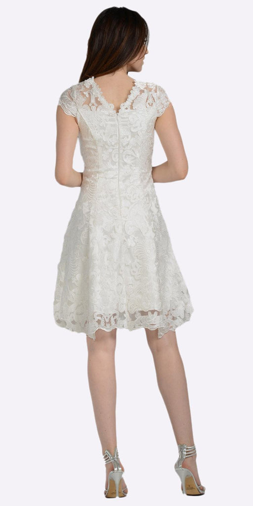 A-line Short Sleeves Appliqued Knee Length Cocktail Dress Off White
