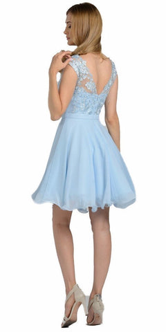Illusion V-Neck Appliqued Bodice Homecoming Short Dress Blue