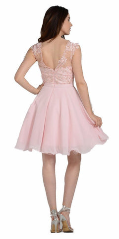 Illusion V-Neck Appliqued Bodice Homecoming Short Dress Blush