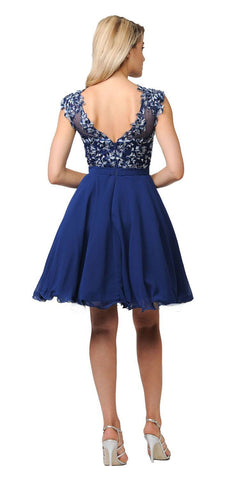 Poly USA Navy Blue Illusion V-Neck Appliqued Bodice Homecoming Short Dress Back View