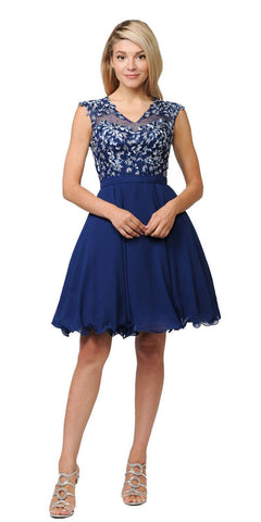 Poly USA Navy Blue Illusion V-Neck Appliqued Bodice Homecoming Short Dress