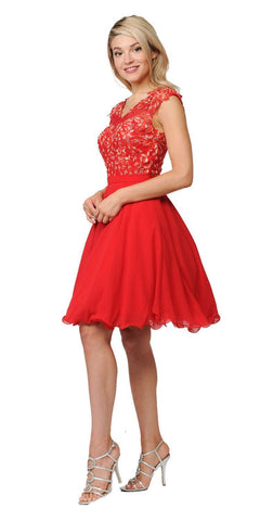 Poly USA Red Illusion V-Neck Appliqued Bodice Homecoming Short Dress Back View