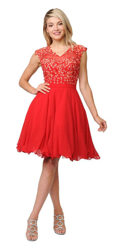 Poly USA Red Illusion V-Neck Appliqued Bodice Homecoming Short Dress